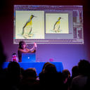 Sydney demonstrating how to animate a penguin before the audience's eyes! Photo credit: Nathan Buckley.